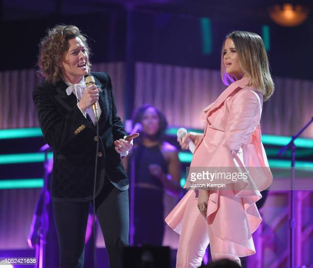 Brandi Carlile and Maren Morris perform onstage during the 2018 CMT Artists of The Year at Schermerhorn Symphony Center on October 17 2018 in...