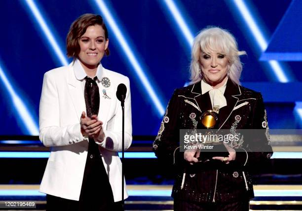 Brandi Carlile and Tanya Tucker accept the Best Comedy Album award on behalf of Dave Chappelle for 'Sticks Stones' onstage during the 62nd Annual...