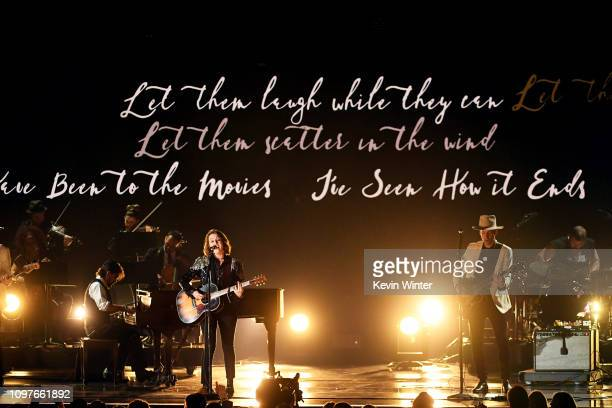 Brandi Carlile and Tim Hanseroth perform onstage during during the 61st Annual GRAMMY Awards at Staples Center on February 10 2019 in Los Angeles...