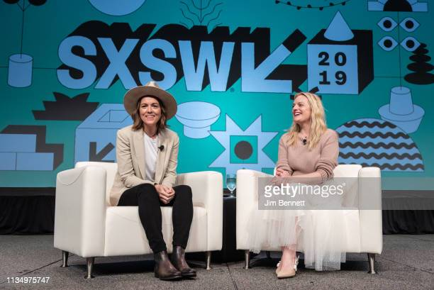 Brandi Carlile interviews Elisabeth Moss live on stage during the 2019 SXSW Conference and Festival at the Austin Convention Center on March 10 2019...