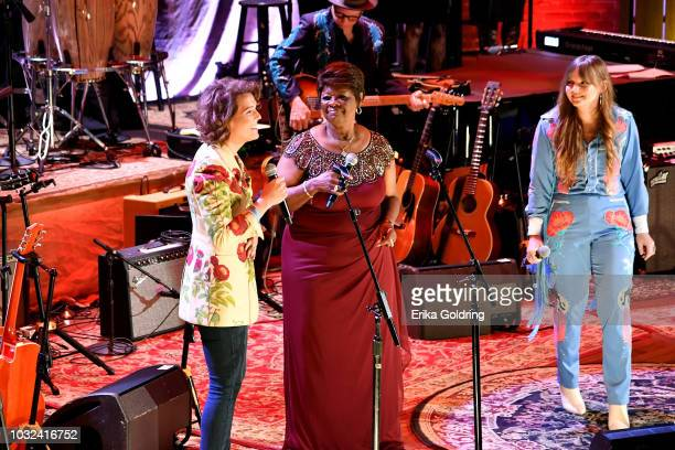 Brandi Carlile Irma Thomas and Courtney Marie Andrews perform onstage during the 2018 Americana Music Honors and Awards at Ryman Auditorium on...