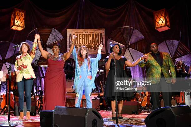 Brandi Carlile Irma Thomas Courtney Marie Andrews Tanya Blount and Michael Trotter Jr of The War and Treaty perform onstage during the 2018 Americana...