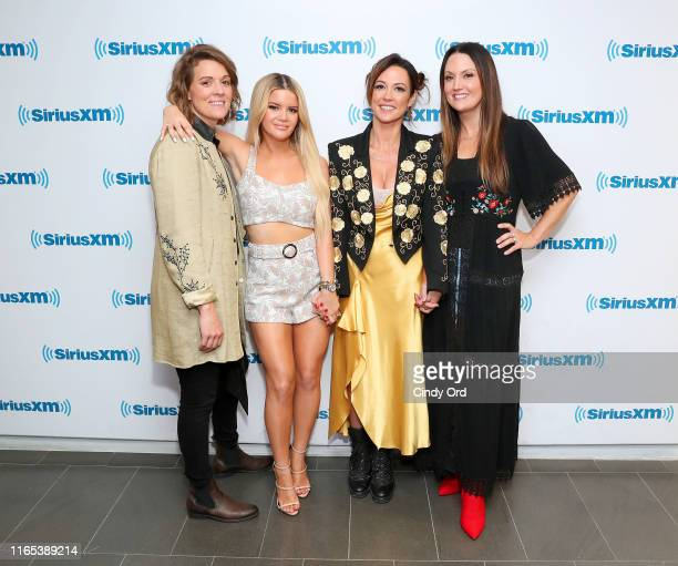 Brandi Carlile Maren Morris Amanda Shires and Natalie Hemby of The Highwomen pose after performing live on SiriusXM's The Highway Channel at the...
