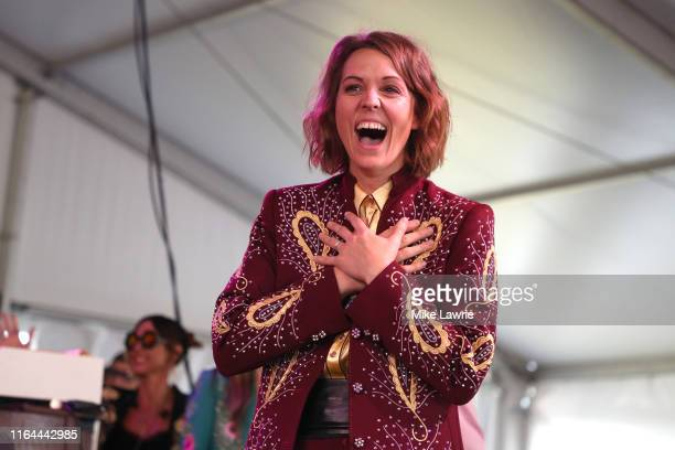 Brandi Carlile of The Highwomen performs during day one of the 2019 Newport Folk Festival at Fort Adams State Park on July 26 2019 in Newport Rhode...