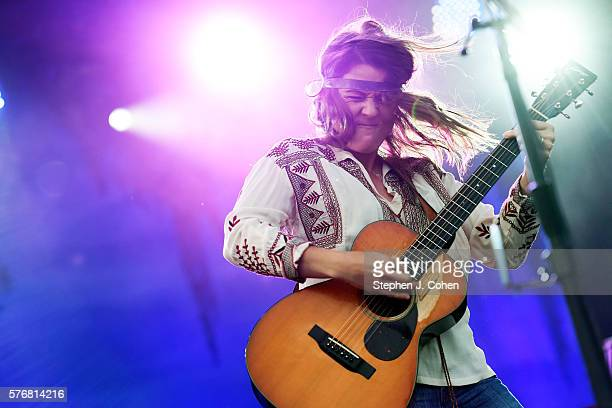 Brandi Carlile performs during Forecastle Festival at Waterfront Park on July 17 2016 in Louisville Kentucky