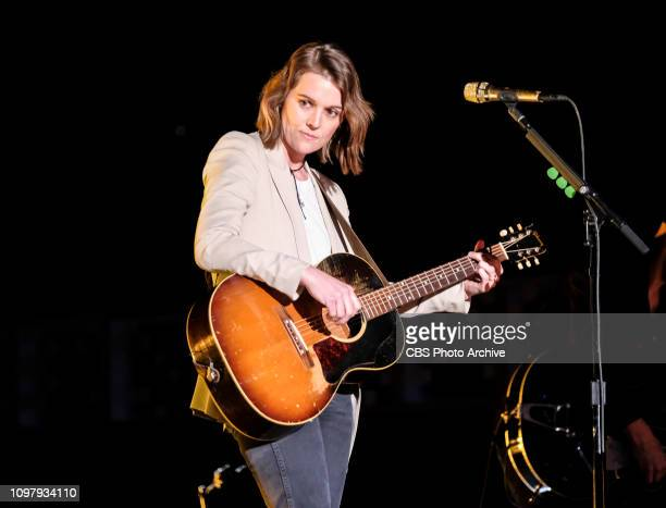 Brandi Carlile performs during rehearsal at THE 61ST ANNUAL GRAMMY AWARDS broadcast live from the STAPLES Center in Los Angeles Sunday Feb 10 on the...