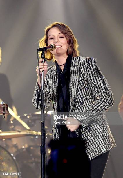Brandi Carlile performs onstage during the 54th Academy Of Country Music Awards at MGM Grand Garden Arena on April 07 2019 in Las Vegas Nevada