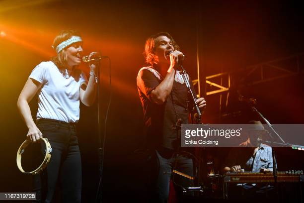 Brandi Carlile performs with Ketch Secor and Joe Andrews of Old Crow Medicine Show during 2019 Railbird Festival at Keeneland Racecourse on August 10...