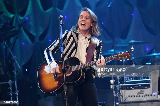 Brandi Carlile perofrms onstage during the PreGRAMMY Gala and GRAMMY Salute to Industry Icons Honoring Clarence Avant at The Beverly Hilton Hotel on...