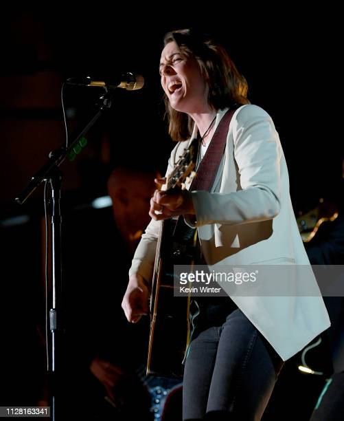 Brandi Carlile rehearses onstage during the 61st Annual GRAMMY Awards at Staples Center on February 07 2019 in Los Angeles California
