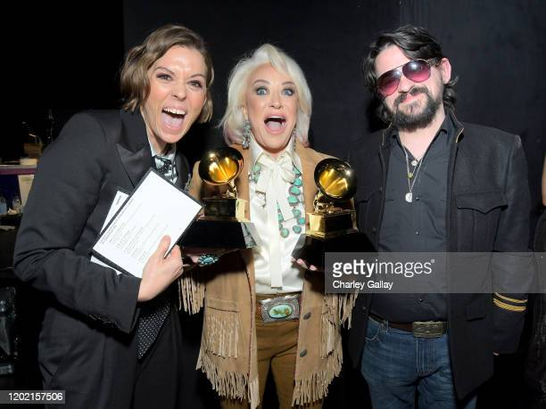 Brandi Carlile Tanya Tucker and Shooter Jennings winner of the Best Country Album award for While I'm Livin' backstage during the 62nd Annual GRAMMY...