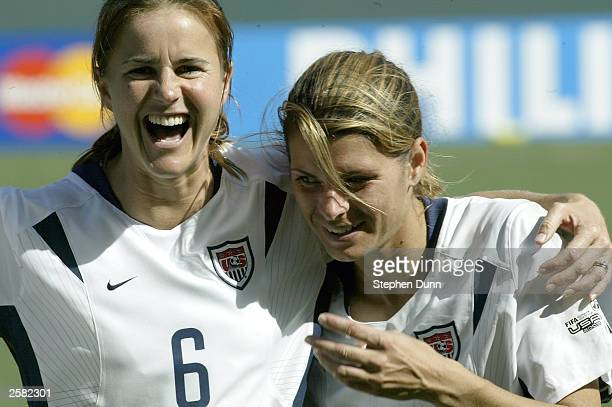 Brandi Chastain and Mia Hamm of USA after defeating Canada 31 during the 3rd place match of the FIFA Women's World Cup on October 11 2003 at the Home...