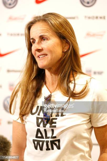 Brandi Chastain of the 1999 FIFA World Cup Championship team talks to the media during a training session for the US Women's National Teamat Banc of...