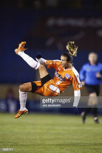 Brandi Chastain of the San Jose Cyberrays in action against the Philadelphia Charge during a WUSA game at Spartan Stadium on April 5 2003 in San Jose...
