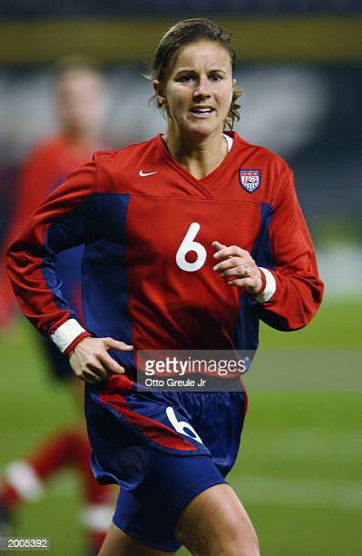 Brandi Chastain of the USA runs against Costa Rica during the Women's World Cup game on November 6 2002 at Safeco Field in Seattle Washington USA won...