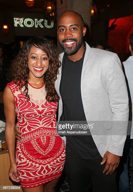 Brandi Fowler and Bryan Johnson attend the Roku grand opening on November 14 2015 in West Hollywood California