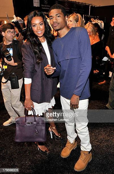 Brandi Garnett and rapper Dominic Lord pose backstage at the Richard Chai Spring 2014 fashion show during MercedesBenz Fashion Week at The Stage at...
