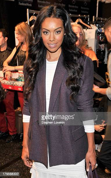 Brandi Garnett poses backstage at the Richard Chai Spring 2014 fashion show during MercedesBenz Fashion Week at The Stage at Lincoln Center on...