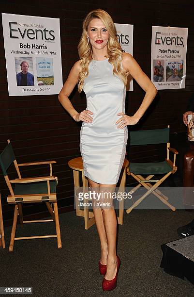 Brandi Glanville signs copies of her new book 'Drinking Tweeting And Other Brandi Blunders' at Barnes Noble bookstore at The Grove on February 20...