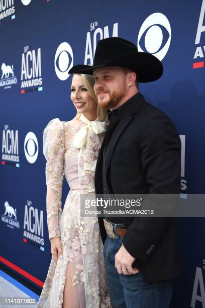 Brandi Johnson and Cody Johnson attend the 54th Academy Of Country Music Awards at MGM Grand Hotel Casino on April 07 2019 in Las Vegas Nevada