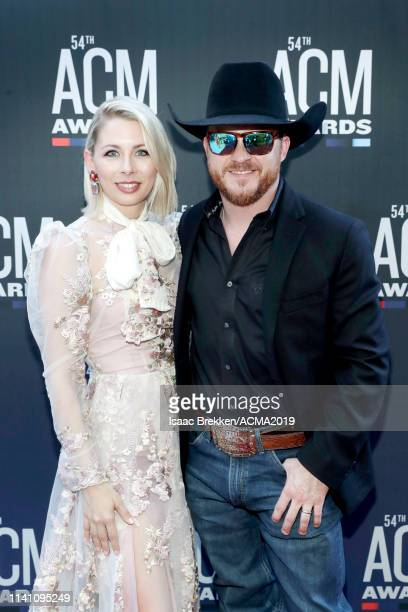 Brandi Johnson and Cody Johnson attend the 54th Academy Of Country Music Awards at MGM Grand Garden Arena on April 07 2019 in Las Vegas Nevada