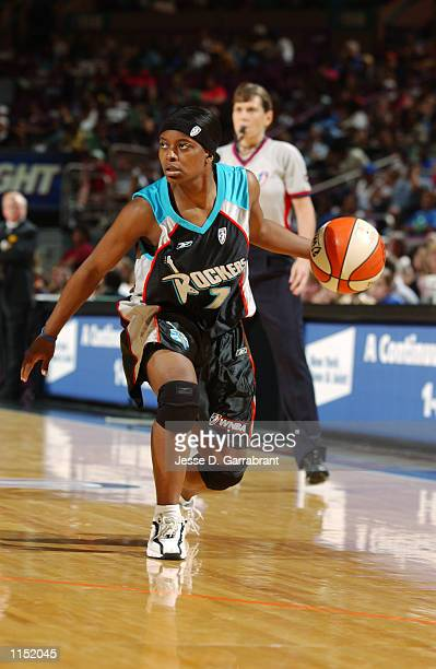 Brandi McCain of the Cleveland Rockers drives against the New York Liberty defense defense during the WNBA regular season game at Madison Square...