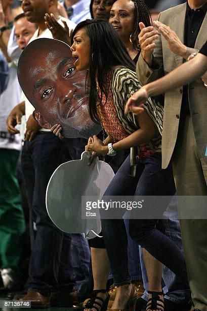 Brandi Padilla Garnett wife of Kevin Garnett of the Boston Celtics cheers on the Celtics in the fourth quarter against the Orlando Magic in Game Five...