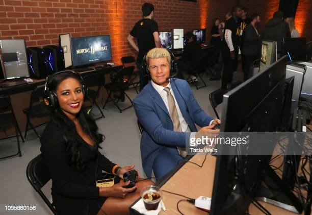 Brandi Rhodes and Cody Rhodes attend Mortal Kombat 11 The Reveal on January 17 2019 in Los Angeles California