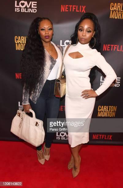 Brandi Williams and Shamari Fears DeVoe attend Love Is Blind Private Screening Reception at Bailey Wine Cellar on February 13 2020 in Atlanta Georgia