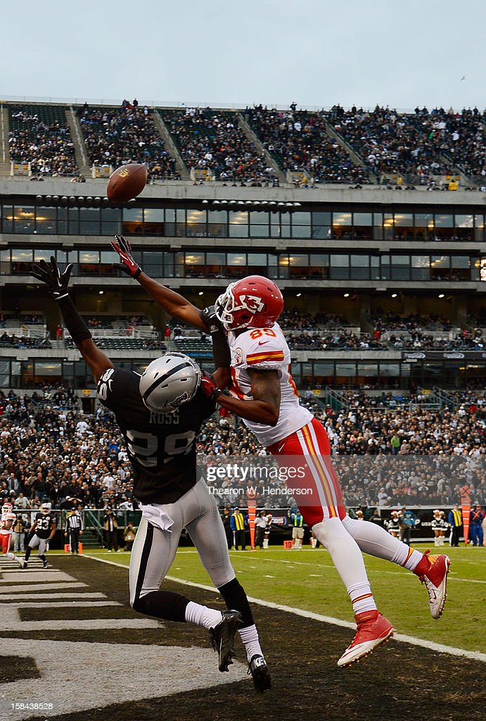 Brandian Ross #29 of the Oakland Raiders defends this pass in the endzone to John Baldwin #89 of the Kansas City Chiefs in the fourth quarter at Oakland-Alameda County Coliseum on December 16, 2012 in Oakland, California. The Raiders won the game 15-0.