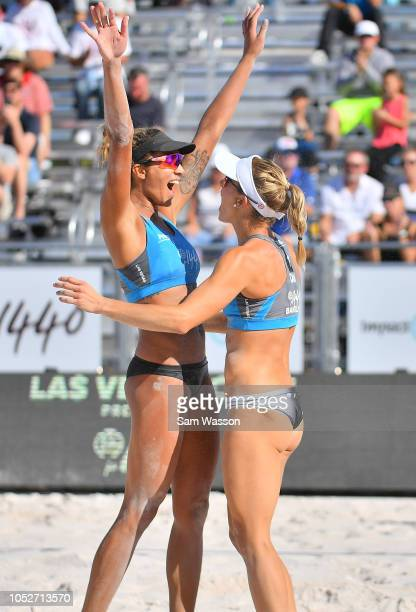 Brandie Wilkerson and Heather Bansley of Canada celebrate after winning the Women's Gold Medal Match of the FIVB Las Vegas Open Presented by p1440...