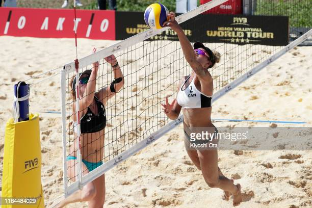 Brandie Wilkerson of Canada competes in the Women's Round 2 match between Heather Bansley and Brandie Wilkerson of Canada and Kelly Claes and Sarah...