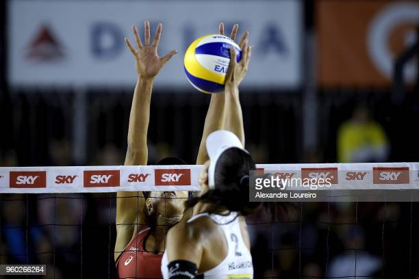 Brandie Wilkerson of Canada in action during the main draw semifinals match against Joana Heidrich and Anouk VergeDepre of Switzerland at Meia Praia...