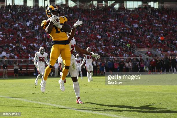 Brandin Cooks of the Los Angeles Rams catches a touchdown against the San Francisco 49ers during their NFL game at Levi's Stadium on October 21 2018...