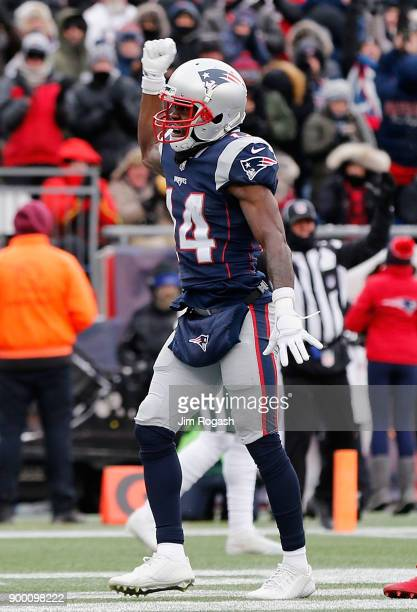 Brandin Cooks of the New England Patriots celebrates after scoring a touchdown during the second quarter against the New York Jets at Gillette...
