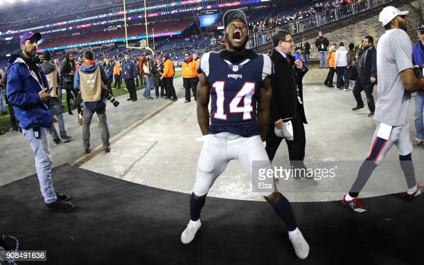 Brandin Cooks of the New England Patriots celebrates after the AFC Championship Game against the Jacksonville Jaguars at Gillette Stadium on January...