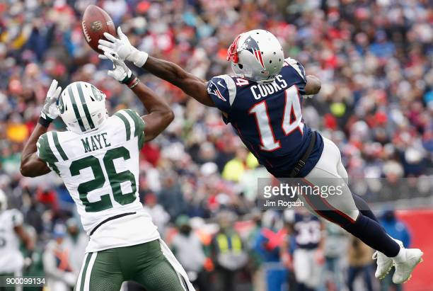 Brandin Cooks of the New England Patriots is unable to make a reception as he is defended by Marcus Maye of the New York Jets during the first half...