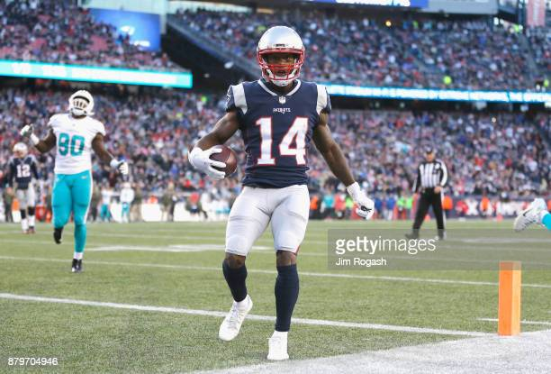 Brandin Cooks of the New England Patriots reacts after scoring a touchdown during the fourth quarter of a game against the Miami Dolphins at Gillette...