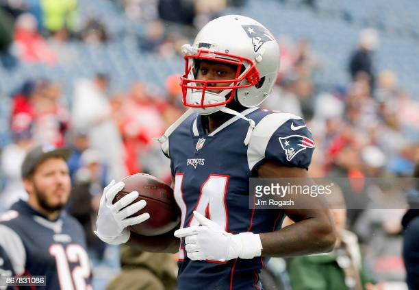 Brandin Cooks of the New England Patriots reacts warms up before a game against the Los Angeles Chargers at Gillette Stadium on October 29 2017 in...