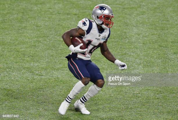 Brandin Cooks of the New England Patriots runs with the ball against the Philadelphia Eagles during Super Bowl LII at US Bank Stadium on February 4...