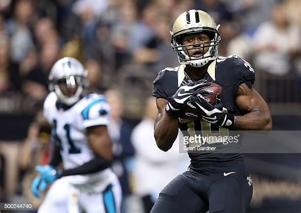 Brandin Cooks of the New Orleans Saints catches a touchdown pass for a touch down agianst the Carolina Panthers at the MercedesBenz Superdome on...