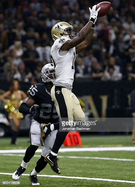 Brandin Cooks of the New Orleans Saints catches the ball for a touchdown over DJ Hayden of the Oakland Raiders during the first half of a game at...