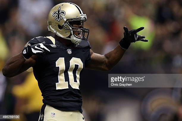 Brandin Cooks of the New Orleans Saints celebrates a touchdown during the first quarter of a game against the New York Giants at the MercedesBenz...