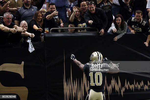 Brandin Cooks of the New Orleans Saints celebrates a touchdown against the Jacksonville Jaguars during the first quarter of a game at the...