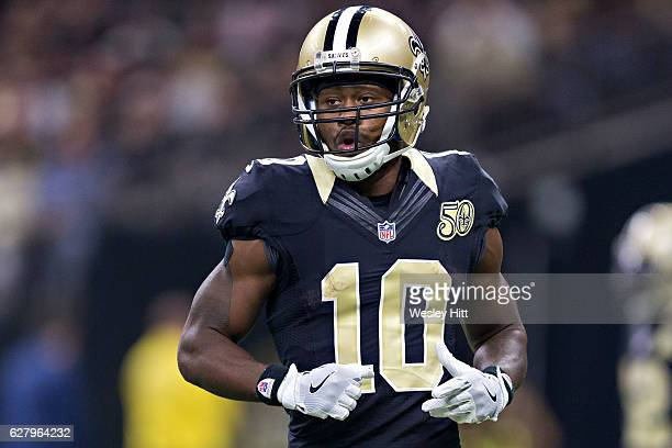 Brandin Cooks of the New Orleans Saints on the field during a game against the Los Angeles Rams at MercedesBenz Superdome on November 27 2016 in New...