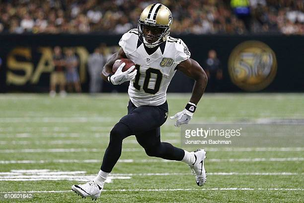 Brandin Cooks of the New Orleans Saints runs with the ball during the first half of a game against the Atlanta Falcons at the MercedesBenz Superdome...