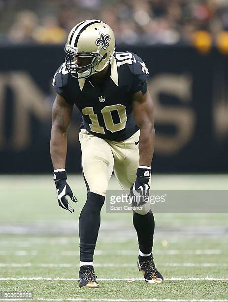 Brandin Cooks of the New Orleans Saints stands on the line of scrimmage during a game against the Jacksonville Jaguars at the MercedesBenz Superdome...