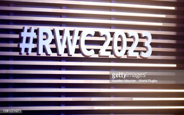 Branding is seen during the Rugby World Cup France 2023 draw at Palais Brongniart on December 14, 2020 in Paris, France