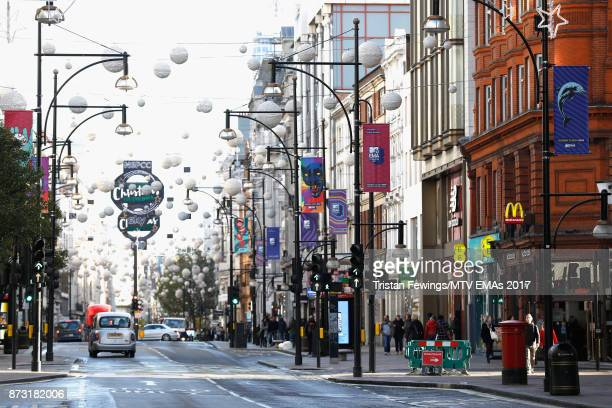 MTV branding is seen on Oxford Street ahead of the MTV EMAs 2017 on November 12 2017 in London England The MTV EMAs 2017 is held at The SSE Arena...