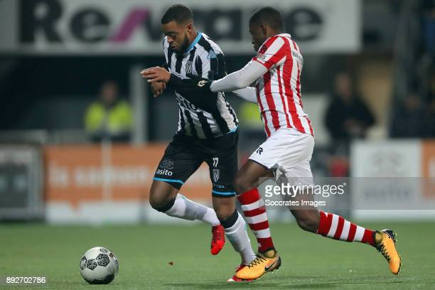 Brandley Kuwas of Heracles Almelo Deroy Duarte of Sparta Rotterdam during the Dutch Eredivisie match between Heracles Almelo v Sparta at the Polman...